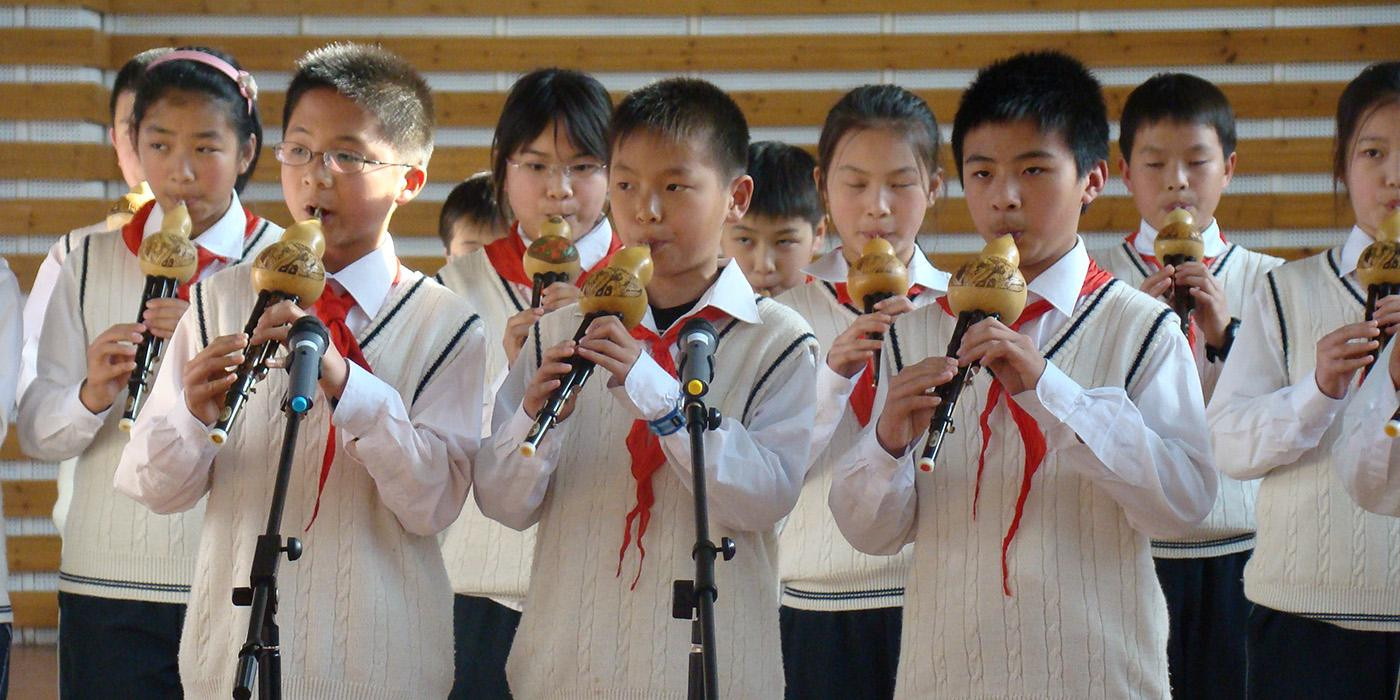 School children performing in Shanghai
