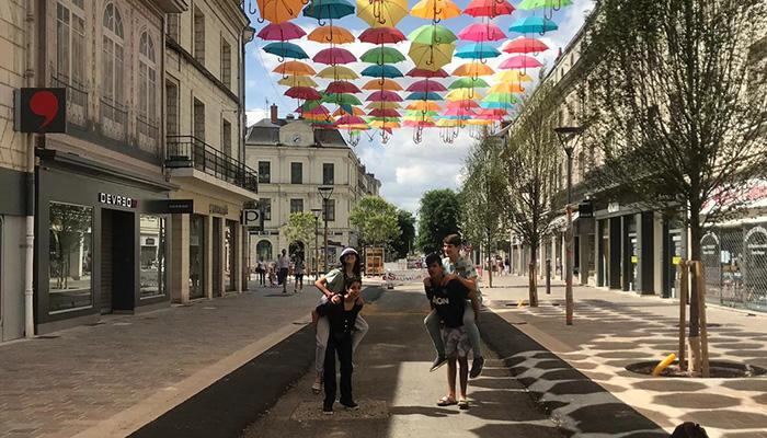 Students enjoying the centre of Angers